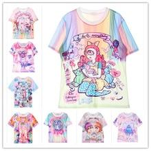 2015 SWAG Harajuku style tie dye t shirt tombstone/my little pony/unicorn/rainbow/bear kawaii cute printed women t-shirt  tops