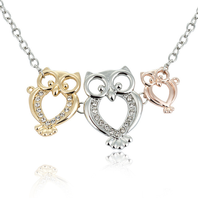 Us 4 64 Cute Owl Three Sisters Friendship Ladies Pop Animals Silver Gold Rose Gold Ornaments Female Pendant Necklaces Jewelry In Pendant Necklaces