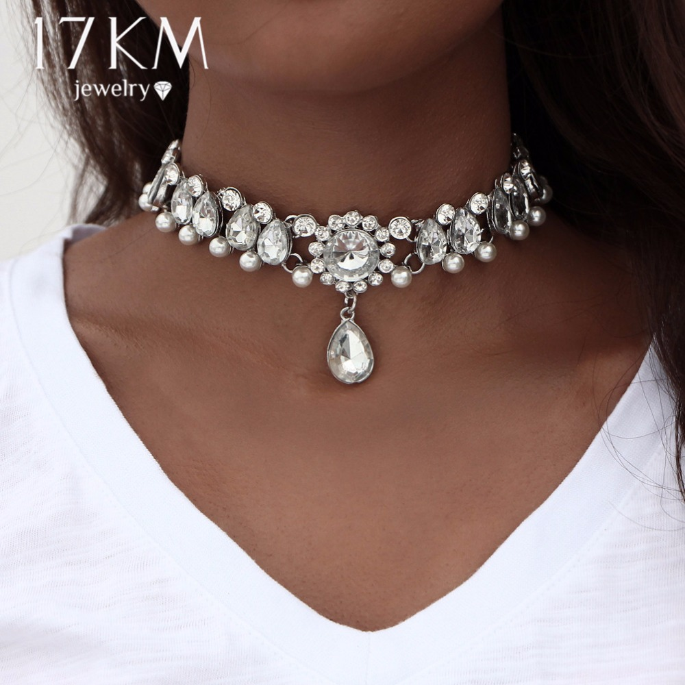 17KM Boho Collar 초커 물방울 크리스탈 비즈 초커 목걸이 & 펜던트 Vintage Simulated Pearl Statement Beads Maxi Jewelry