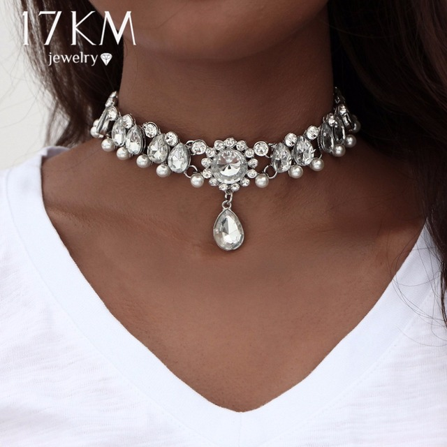 17KM Boho Collar Choker Water Drop Crystal Beads Choker Necklace &pendant Vintag