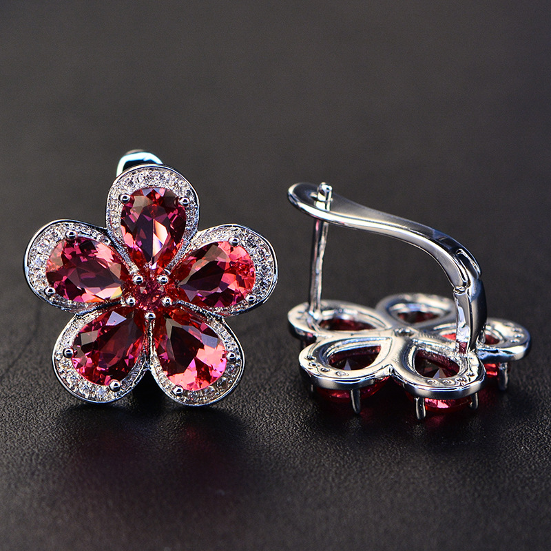 HTB1iPXWXGSs3KVjSZPiq6AsiVXa8 PANSYSEN Luxury Flower Design Ruby Gemstone Clip Earrings for Women Solid 925 Sterling Silver Jewelry Wedding Christmas Gifts