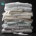 LinenAll пижамы набор мягкой 100% белье стирать белье с длинным рукавом мужская Сна и Lounge серый/натуральный лен/бежевый цвета