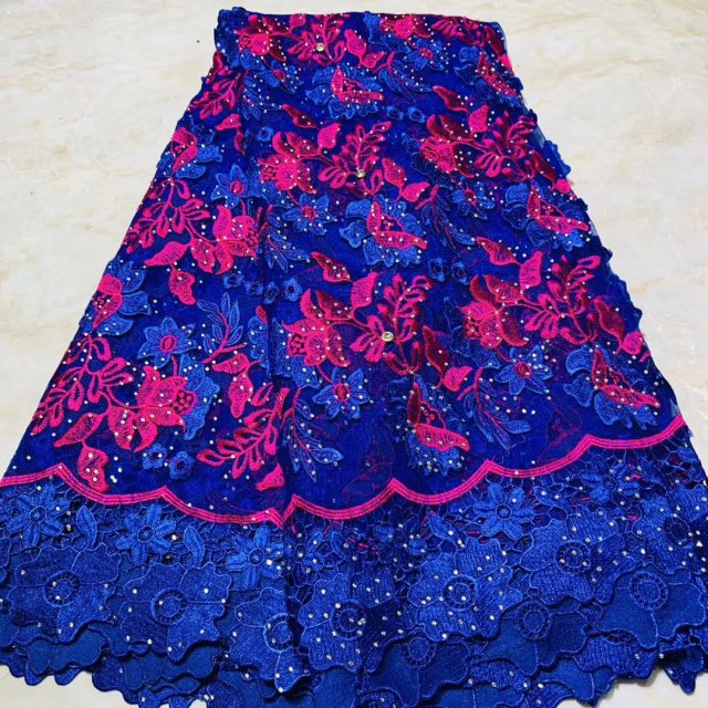 Blue Tulle Embroidery African Lace Fabric With Rhinestones 2019 High Quality Ankara Swiss Voile Lace Fabrics For Sewing Dress