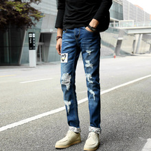 Men s hole patch ripped jeans slim fit skinny patchwork print denim pants Fashion zipper pocket