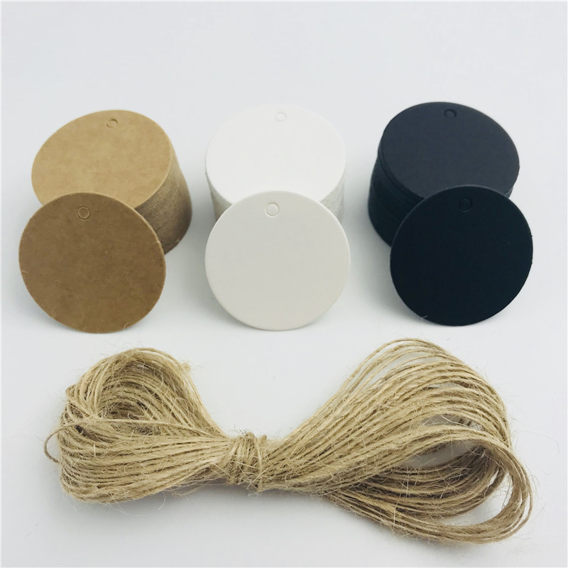 100pcs/lot White Black Brown Kraft Paper Tags Round Luggage Note DIY Name Tag Blank Price Hang Tag Rope 3.5*3.5cm