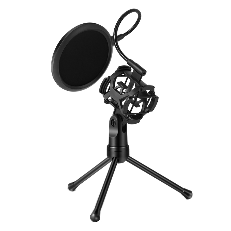Black Microphone Filter Holder Stick Desktop Tripod Stand Anti-Spray Net Kit PS-2