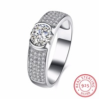 100 Real 925 Sterling Silver Wedding Ring With AAA Zircon Woman Fashion Jewelery Top Quality Size