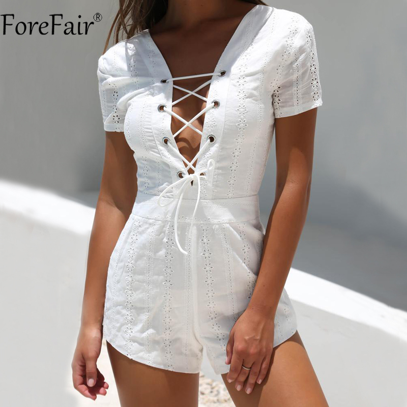 ForeFair Hollow Out Overalls for Women Sexy V Neck Backless Bandage Playsuit Beach Wear White Lace Short Sleeve   Jumpsuits   Summer