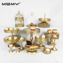 14pcs/ set  Wedding Crystal New Design Fashion Wholesale 2 tier Gold Cake Stand