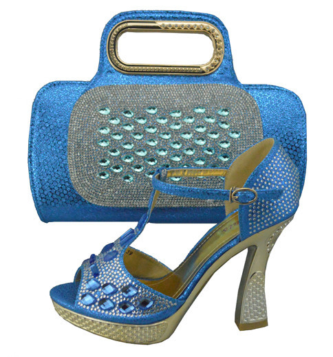 ФОТО Italian Shoes With Matching Bag Set High Quality Italy Shoe And Bag Set To Matching Fashion Ladies Pumps Shoes Sky Blue 1308-31