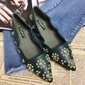 2017 New Arrival Pointed Toe Flower Rivets Black Green Flat Shoes Patent Leather Shoes Woman Flats