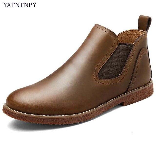 76e5e60a8 Botas Chelsea YATNTNPY Clássico Para O Homem, Bota de Couro De patente Dos Homens  Slip