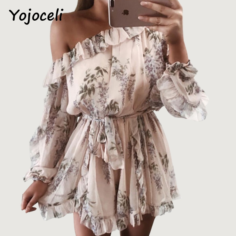 Yojoceli 2018 Spring Summer Print Jumpsuit Rompers Women Off Shoulder Ruffled Playsuits Streetwear Boho Beach Playsuits