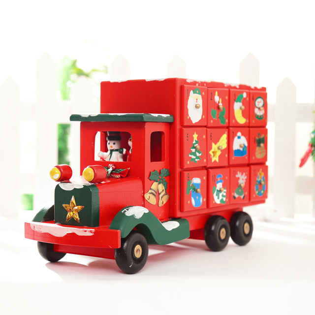 xmas truck with drawer xmas decoration creative wooden christmas truck candy storage for x - Christmas Truck Decor