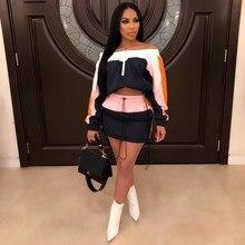 Women Tracksuit Off Shoulder 2 Piece Set Slash Neck Splicing Top Mini Skirts Suit 2Pcs