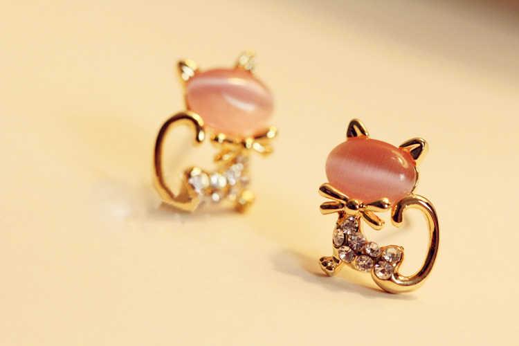 ใหม่แฟชั่นคริสตัลต่างหูแมวน่ารัก Fine Black Kitten Brincos เครื่องประดับหูเจาะหูต่างหูผู้หญิง