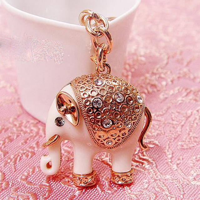 New Rhinestone Vintage Lucky Elephant Keychains Rose Gold Plated Valentine's Gift Vintage Top Brand UVOGUE Jewelry Wholesale