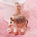 Nuevo Rhinestone de La Vendimia Elefante Afortunado Llaveros Chapado En Oro Rosa de Regalo de San Valentín de La Vendimia Top Brand UVOGUE Joyería Al Por Mayor