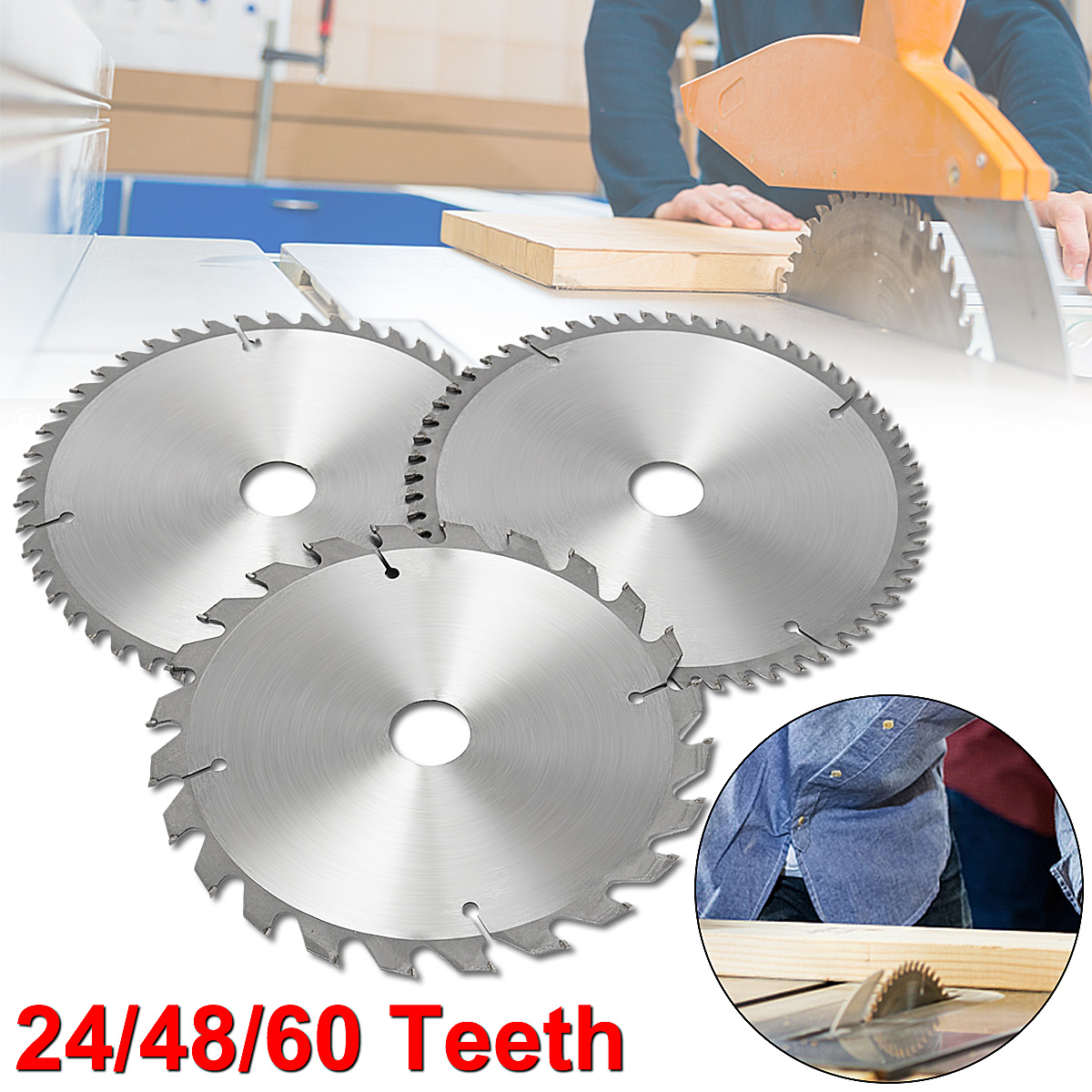 Drillpro 3 Pcs/set 210mm TCT 24/48/60T Circular Saw Blade For Home Decoration Purpose Wood/Thin Aluminum General Cutting