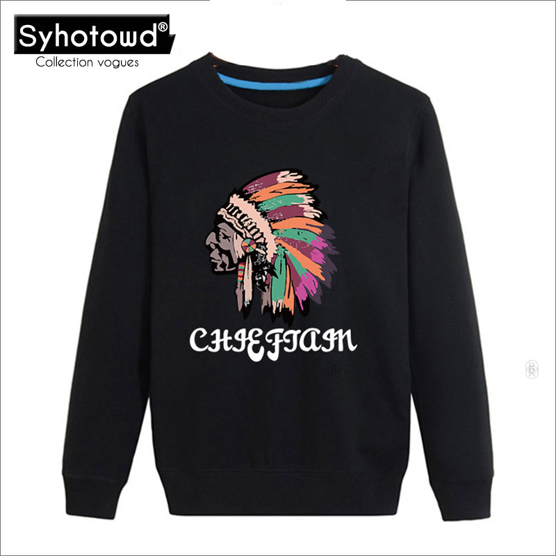 2017 Men Sweatshirts and Hoodies Tribal totem printing pullover plus size men hooded fashion High Quality