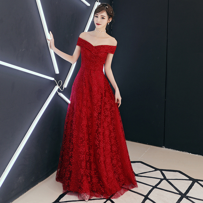Evening Dresses Elegant Wine Red Boat Neck Embroidery Formal Prom Dress Flower Lace Up A line Floor length Long Party Gowns E407 in Evening Dresses from Weddings Events