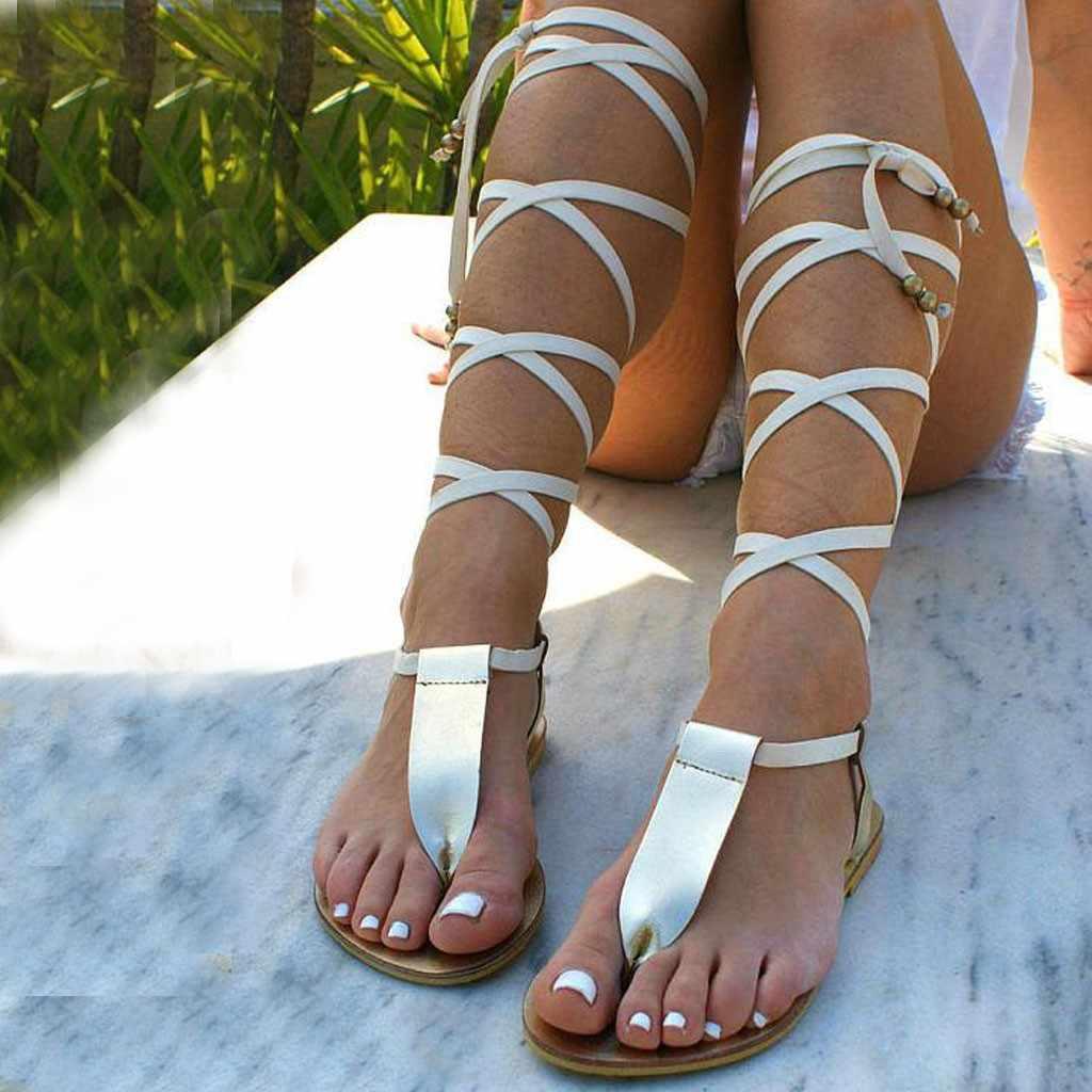 Sandalias de Mujer Sandalias de verano de Punta abierta con tiras romanas para el viento Sandalias planas con dedos de los pies sandalias informales suaves de talla grande para mujer Sandalias de playa D9 #