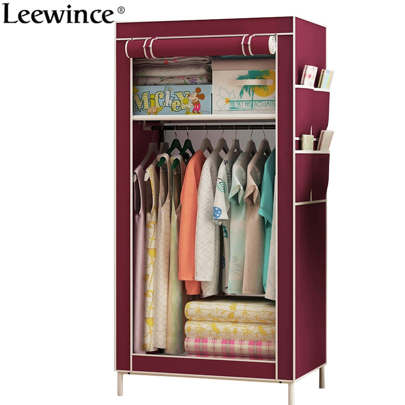Leewince Wardrobes Linen closet Fabric Folding Closet Cloth Cabinet Roll Up Portable Storage Cabinet