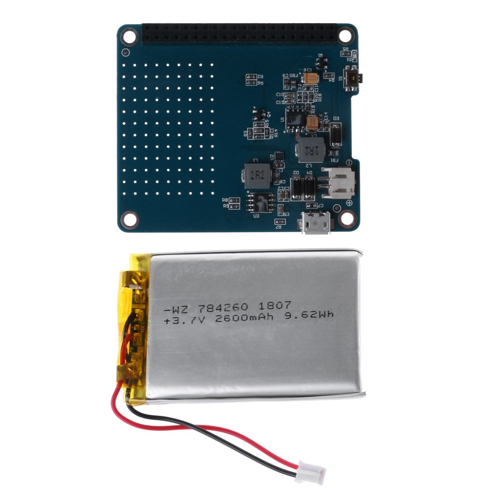 1PC UPS HAT Board + 2500mAh Lithium Battery For Raspberry Pi 3 Model B / Pi 2B / B+ / A+ Board Module Drop Shipping1PC UPS HAT Board + 2500mAh Lithium Battery For Raspberry Pi 3 Model B / Pi 2B / B+ / A+ Board Module Drop Shipping