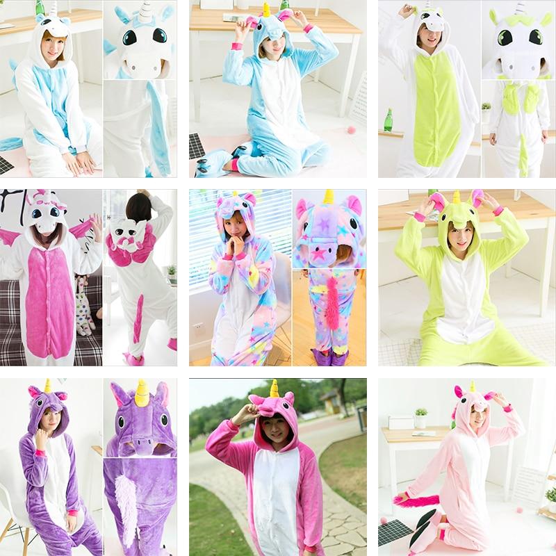 2019   Pajamas     Sets   Flannel Cute Animal   Pajamas     Sets   Winter Horse Soft Flannel Nightie Cosplay Pyjamas Sleepwear kigurumi Cosplay