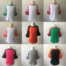 Blouse Long Raglan Sleeve Icing Raglan Shirts Baby Boutique Wholesale Ruffle Sleeve Icing Raglan Shirts