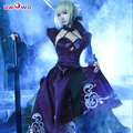 Sable Uwowo Traje Artoria Pendragon Anime Fate Stay Night Fate Zero PPI Espada Cosplay Vestido Negro