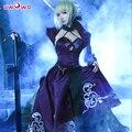 Uwowo Костюм Artoria Пендрагон сабер Аниме Fate Stay Night Fate Zero БПР Меч Косплей Черное Платье