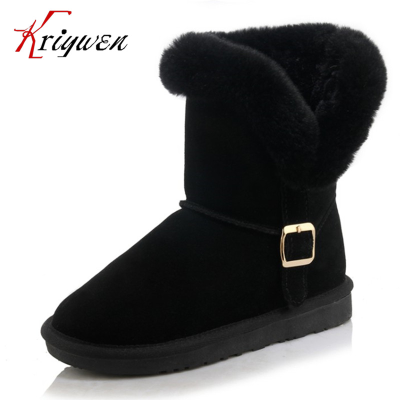 ФОТО Russian women lovely snow boots top quality buckle flat with comfortable woman shoes keeping warm fur cow suede big size 34-43