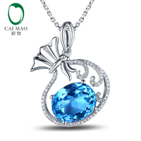 6.85ct Natural Blue Topaz and 0.23ct Natural Diamond Wedding Pendant Real 10k Gold Good Luck for Girls
