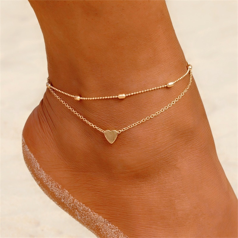FNIO Two Layers Chain Heart Style Gold/Silver Color Anklets For Women Bracelets Summer Barefoot Sandals Jewelry On Foot Leg Chai