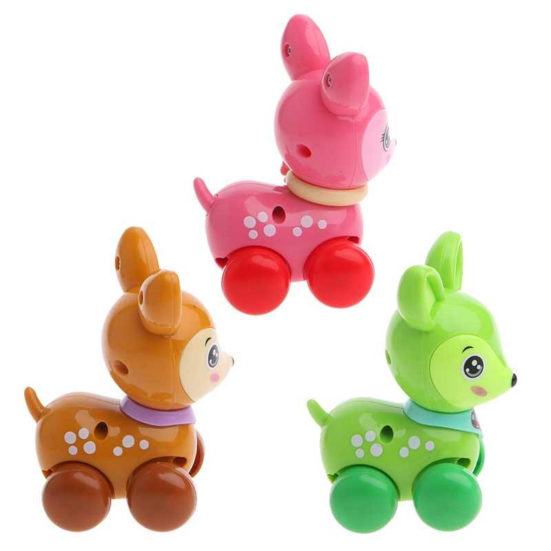 1 ชิ้นน่ารักการ์ตูนสัตว์ Clockwork ลมขึ้นของเล่นวิ่งพลาสติกเด็กของขวัญเด็ก