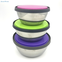 Stainless Steel Mixing or Food Bowl Set with lids  With Bright Color Silicone lids