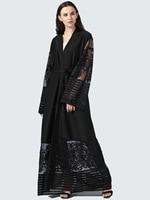 New Muslim woman lace hollow Robe Musulmane Turkish Dubai Abaya Muslim Robe Arab abaya with blet Thobe Islamic Prayer Clothes