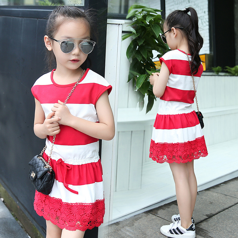Summer Girl Dress Cotton Casual Children Clothing O-Neck Cartoon Kid Stripe Lace Dresses for Girl Fashion Baby Clothes for Girls children dresses for girls summer casual stripe baby girl dress 2017 fashion kids clothes 4 6 8 10 12 years girls clothing