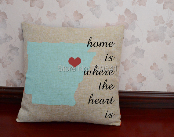 Free shipping Unique State Pillowcase Custom map cushion cover home is where the heart is pillow Graduation Gift idea wholesale