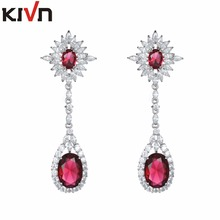 KIVN Fashion Jewelry Luxury Drop Dangle Long CZ Cubic Zirconia Bridal Wedding Earrings for Women Girls Promotion Birthday Gifts