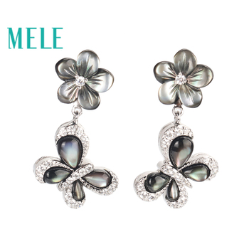 High quality black shell dangle earrings for women,Plum blossoms and butterflies shape with 925 sterling silver charming jewelry
