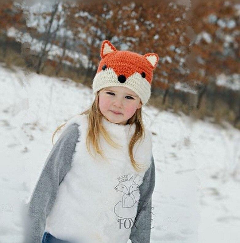Cute Girl Boys Unisex Knitted Hat Fox Style  Ears Button Hooded Scarf Shawl Winter Warm Animal Cap Headwear Orange Beanie Hat