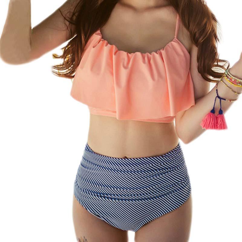 NODELAY Sexy Stripe Bikinis plavky dámské 2018 vysoké pasové - Sportovní oblečení a doplňky