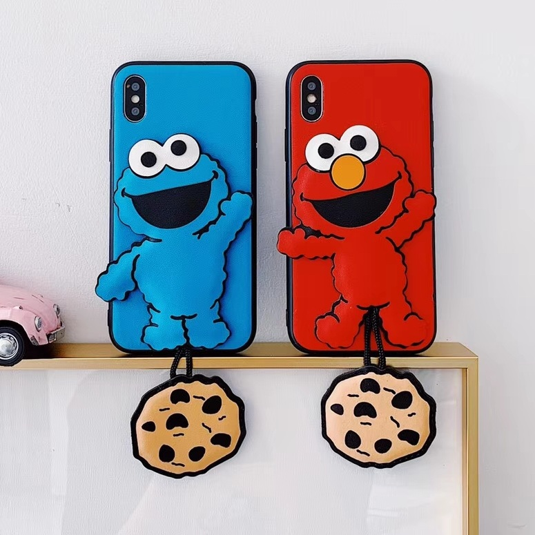 Sesame Street ELMO phone case For iphone 8 Case For iphone X case For iphone XR Xs Max 6S 6 7 8 Plus Cookie Pendant Luxury case toy story bunny toys