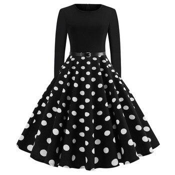de44d517200670 Witte Polka Dot Jurk Vrouwen Lange Mouw Gewaad hiver Vintage 50 s 60 s  Rockabilly Gothic Pin Up Lente Winter jurken met Riem