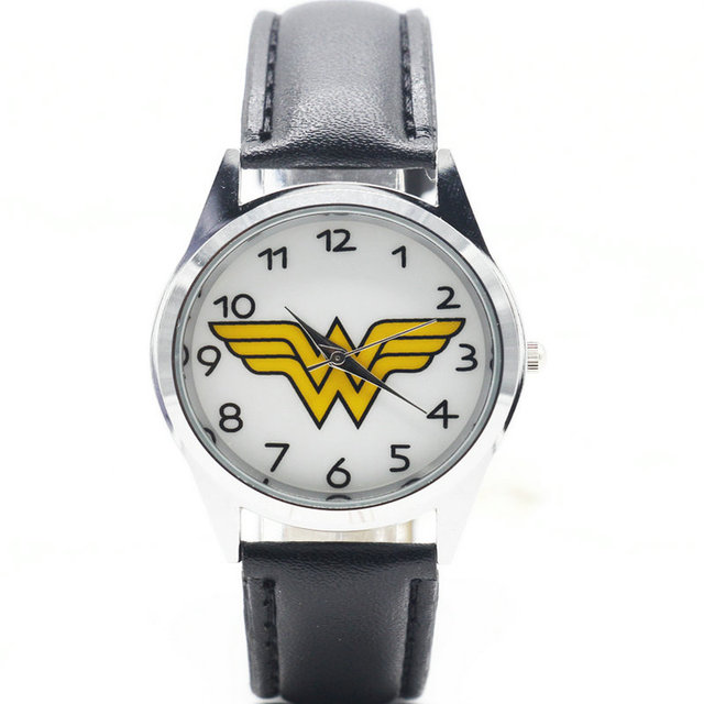 Fashion Wonder Woman kids Wristwatch High Quality Leather Strap Women Watch 2017