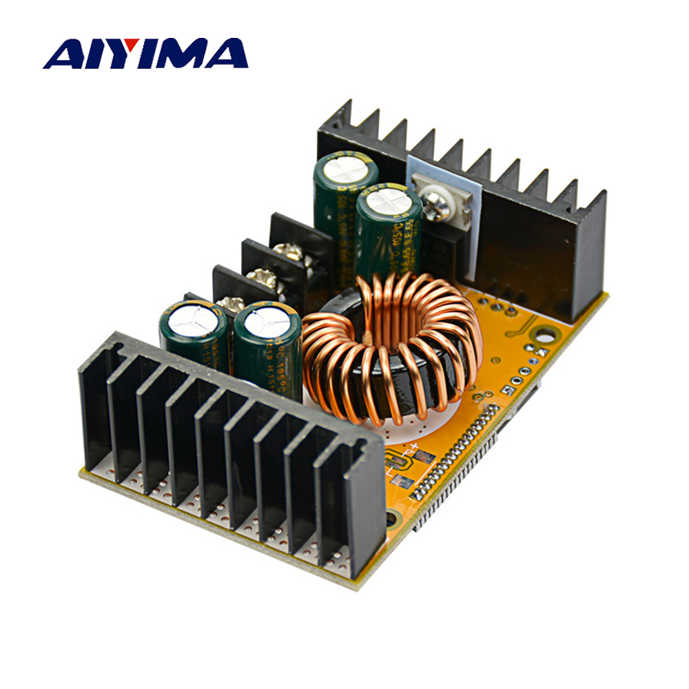 Aiyima 10A Dual Show DC High Power Adjustable Step-down Power Supply Module For Battery Charger / Constant Current LED Driver 10a dc power adjustable step down dc constant voltage constant current power supply module lcd screen