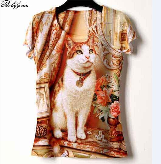 Women T Shirt summer 3D printing canvas cat character color t-shirt 153 lady short sleeve T Shirt