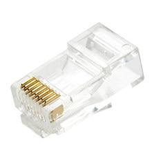 Разъемы Cat5e UTP 8P8C RJ45, позолоченные, высокопрозрачные, 30 шт., сетевой кабель, неэкранированный Модульный штекер